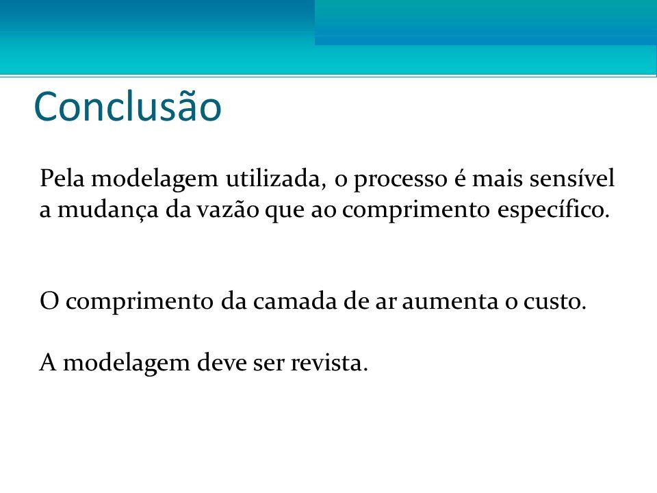 Conclusão Pela modelagem utilizada, o processo é mais sensível a mudança da vazão que ao comprimento específico.