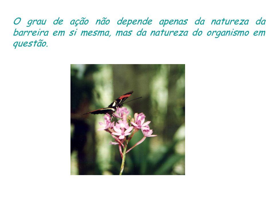 O grau de ação não depende apenas da natureza da barreira em si mesma, mas da natureza do organismo em questão.