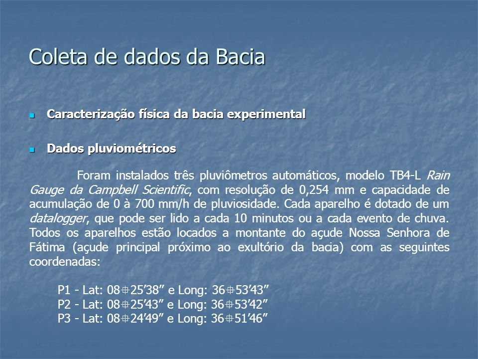 Coleta de dados da Bacia