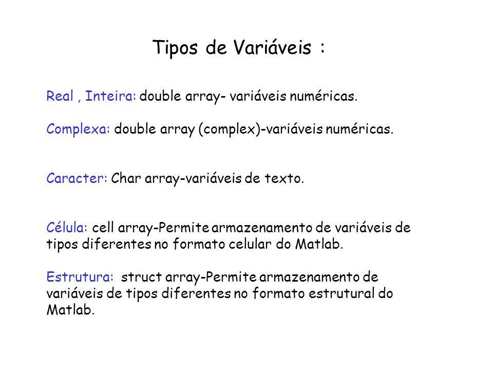 Tipos de Variáveis :Real , Inteira: double array- variáveis numéricas. Complexa: double array (complex)-variáveis numéricas.