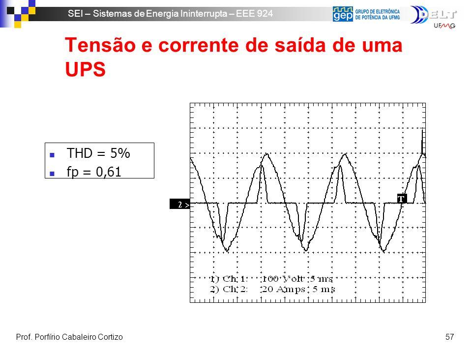 Tensão e corrente de saída de uma UPS
