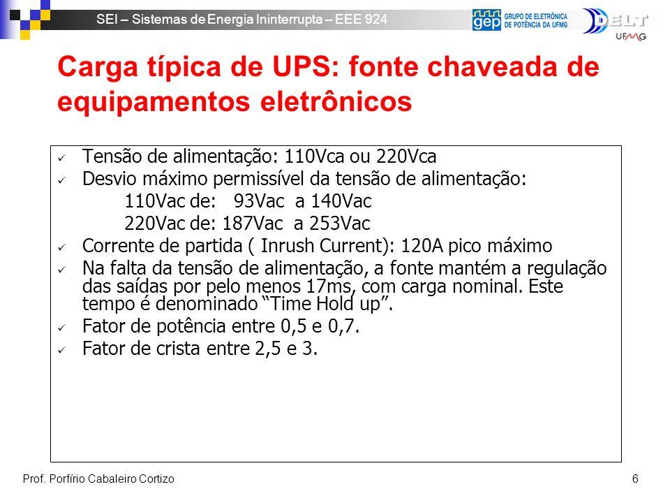 Carga típica de UPS: fonte chaveada de equipamentos eletrônicos