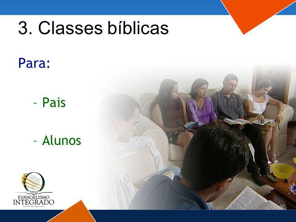 3. Classes bíblicas Para: Pais Alunos