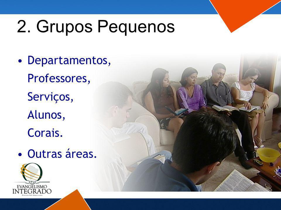 2. Grupos Pequenos Departamentos, Professores, Serviços, Alunos, Corais. Outras áreas.