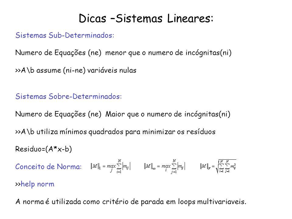Dicas –Sistemas Lineares: