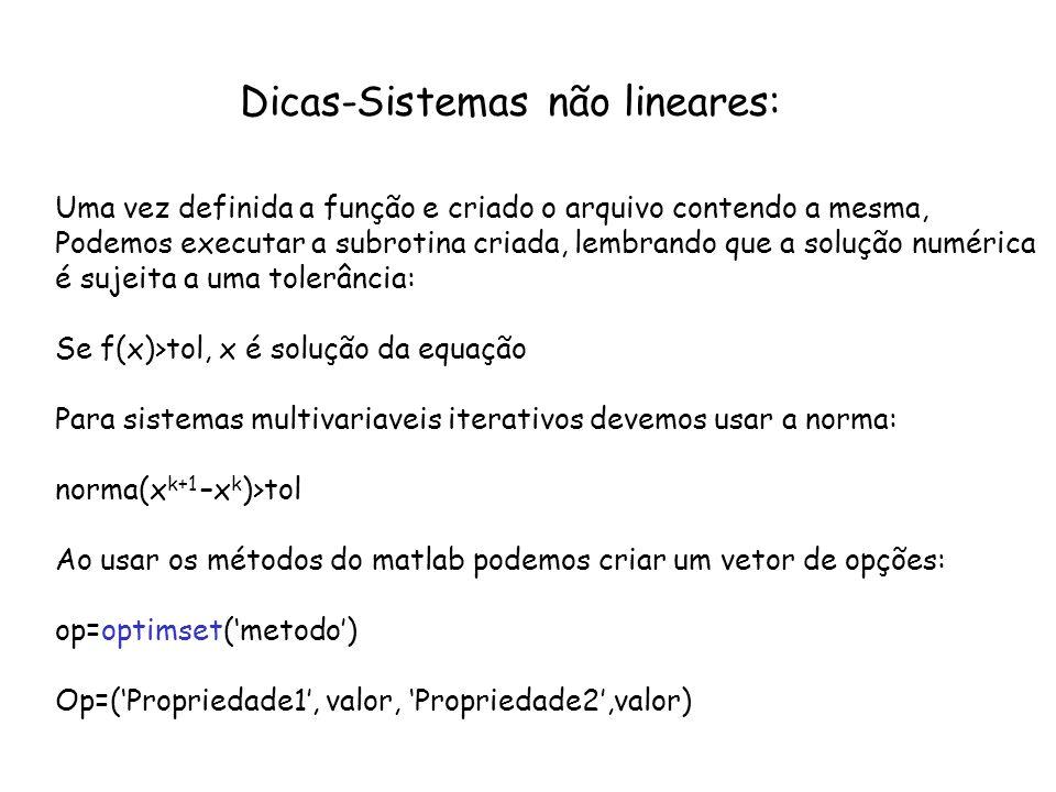 Dicas-Sistemas não lineares: