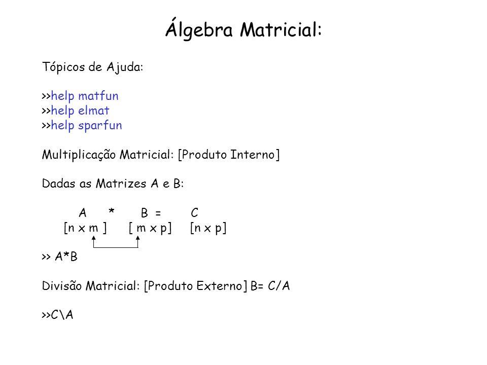 Álgebra Matricial: Tópicos de Ajuda: >>help matfun
