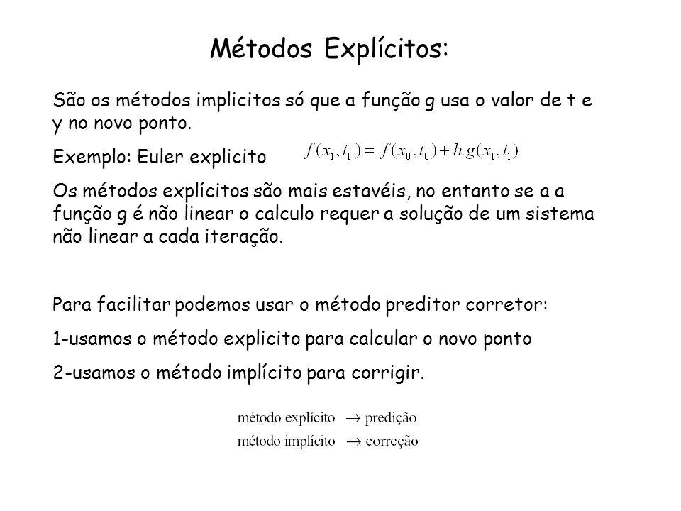 Métodos Explícitos:São os métodos implicitos só que a função g usa o valor de t e y no novo ponto. Exemplo: Euler explicito.