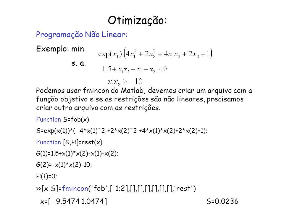 Otimização: Programação Não Linear: Exemplo: min s. a.