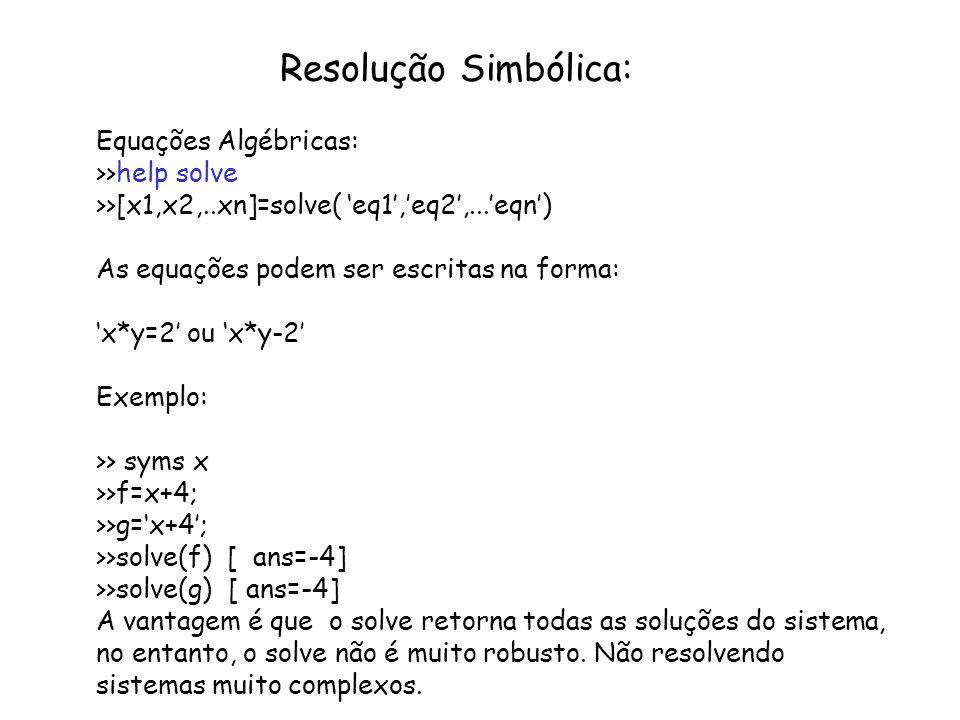 Resolução Simbólica: Equações Algébricas: >>help solve