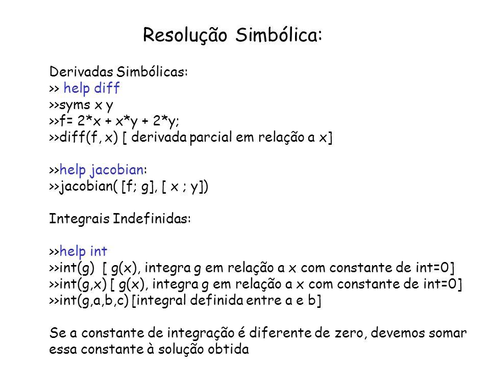 Resolução Simbólica: Derivadas Simbólicas: >> help diff