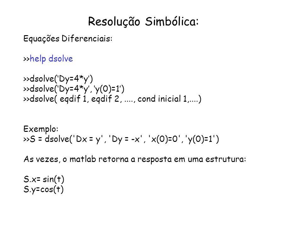 Resolução Simbólica: Equações Diferenciais: >>help dsolve