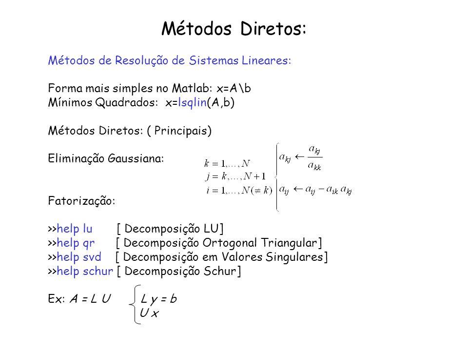 Métodos Diretos: Métodos de Resolução de Sistemas Lineares: