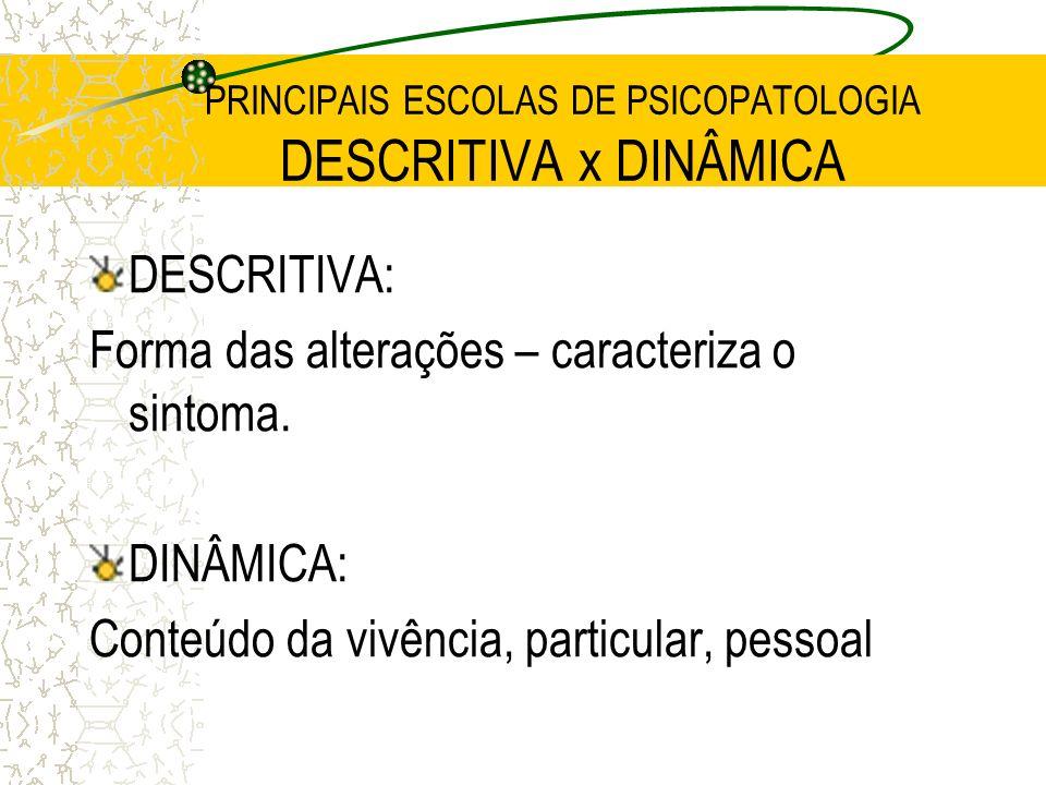 PRINCIPAIS ESCOLAS DE PSICOPATOLOGIA DESCRITIVA x DINÂMICA