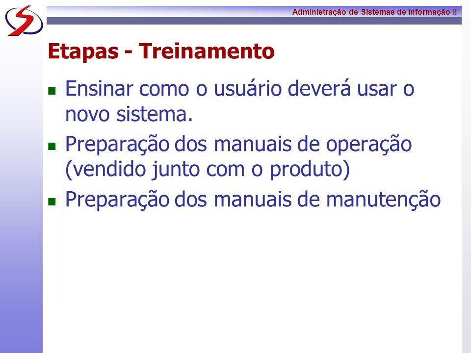 Etapas - Treinamento Ensinar como o usuário deverá usar o novo sistema. Preparação dos manuais de operação (vendido junto com o produto)