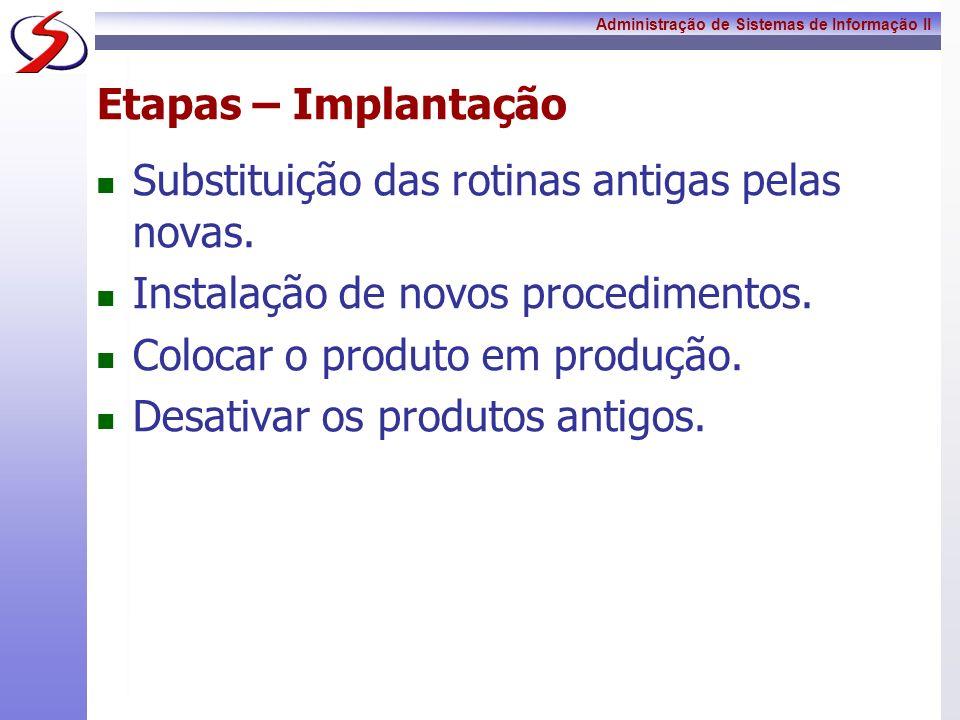 Etapas – Implantação Substituição das rotinas antigas pelas novas. Instalação de novos procedimentos.