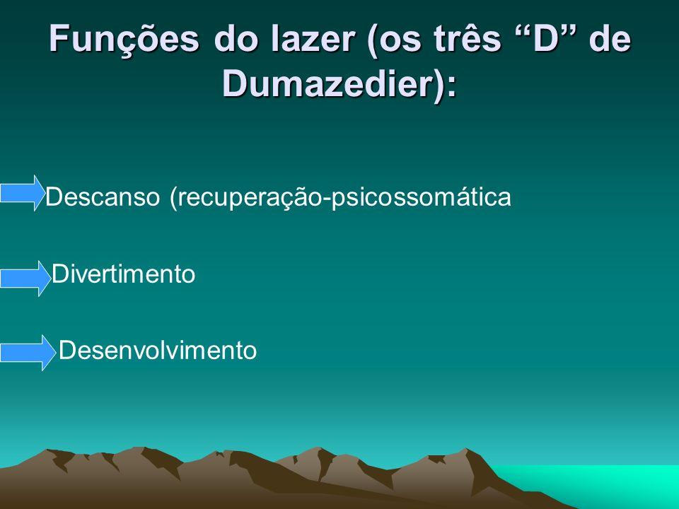 Funções do lazer (os três D de Dumazedier):