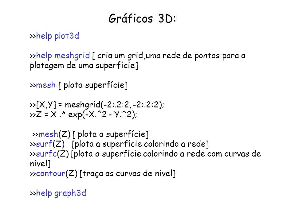 Gráficos 3D: >>help plot3d