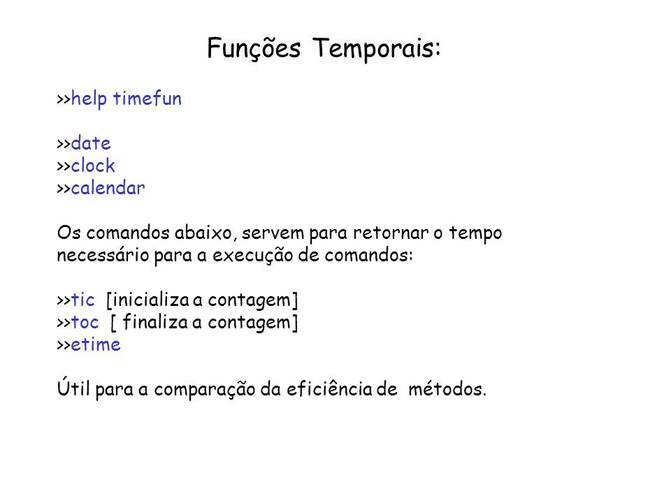 Funções Temporais: >>help timefun >>date >>clock