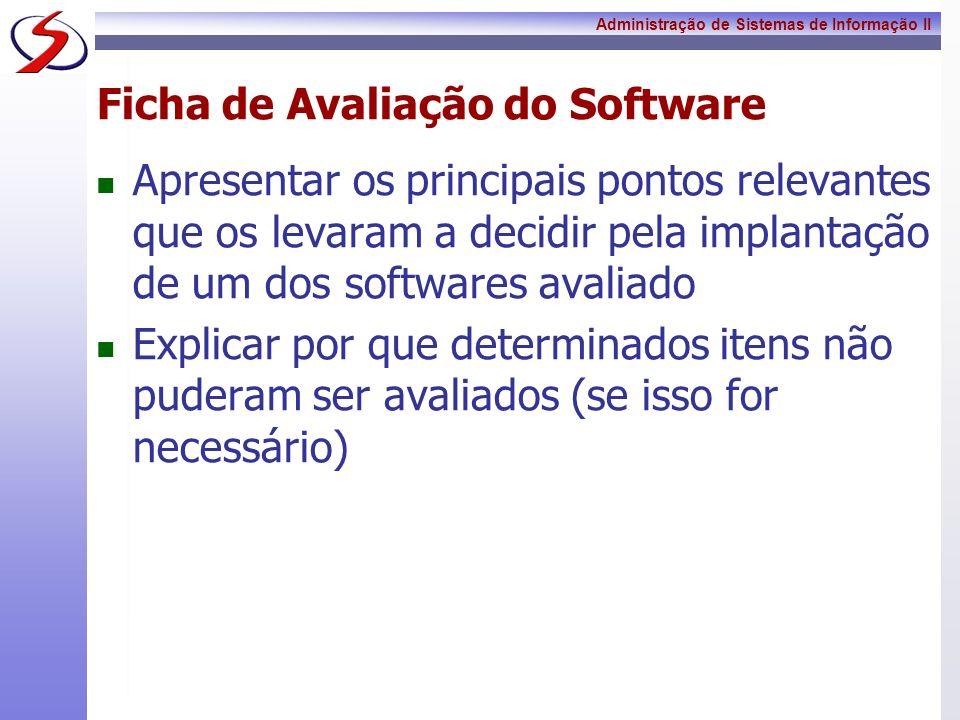 Ficha de Avaliação do Software