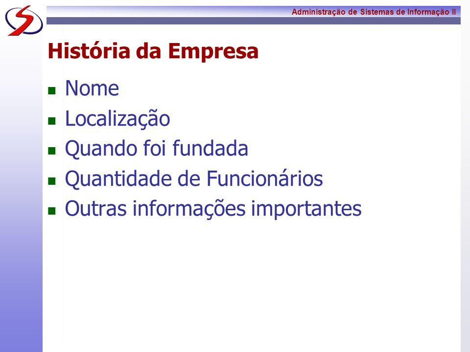 História da Empresa Nome. Localização. Quando foi fundada.