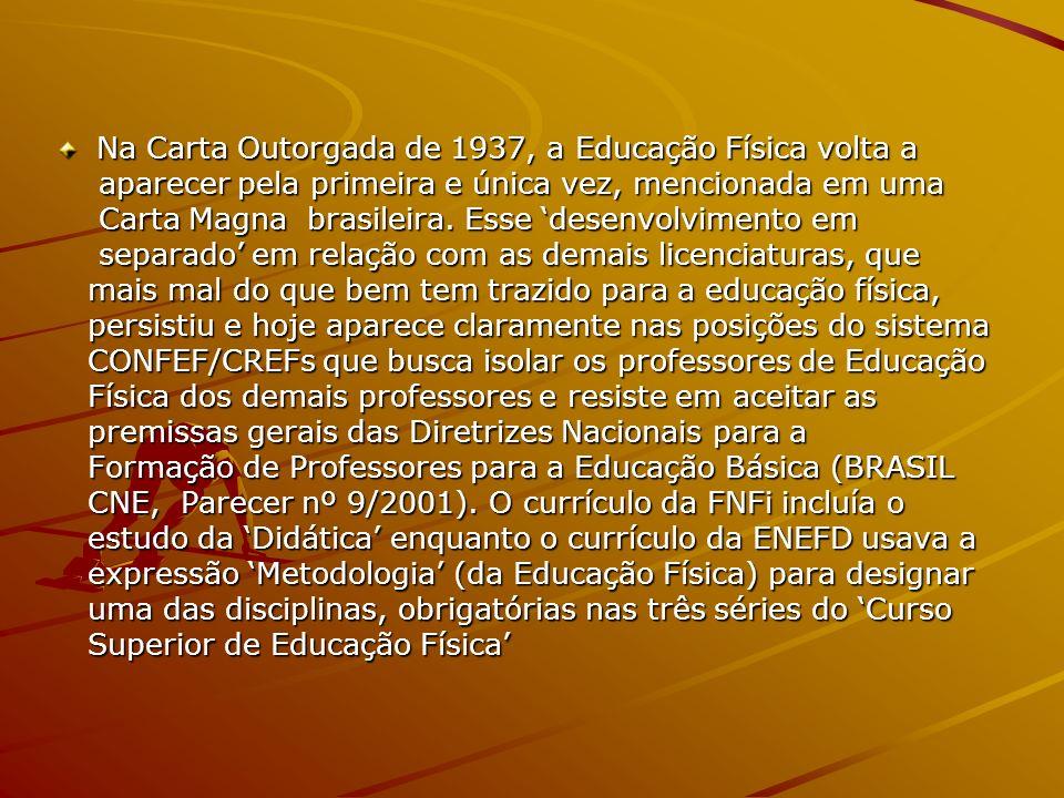Na Carta Outorgada de 1937, a Educação Física volta a