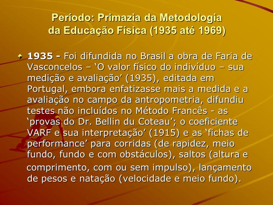 Período: Primazia da Metodologia da Educação Física (1935 até 1969)