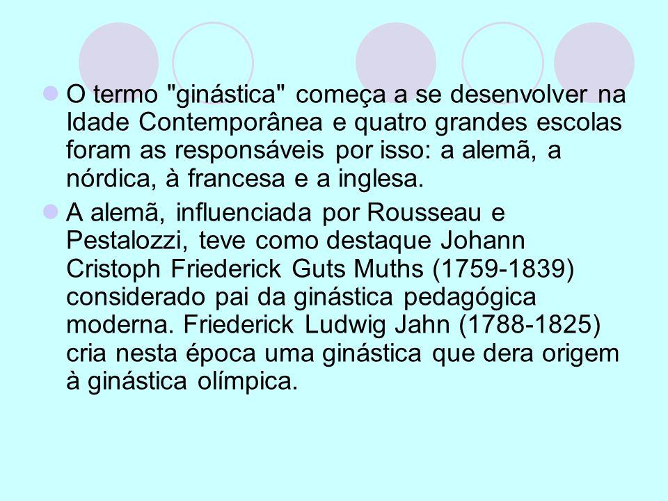 O termo ginástica começa a se desenvolver na Idade Contemporânea e quatro grandes escolas foram as responsáveis por isso: a alemã, a nórdica, à francesa e a inglesa.