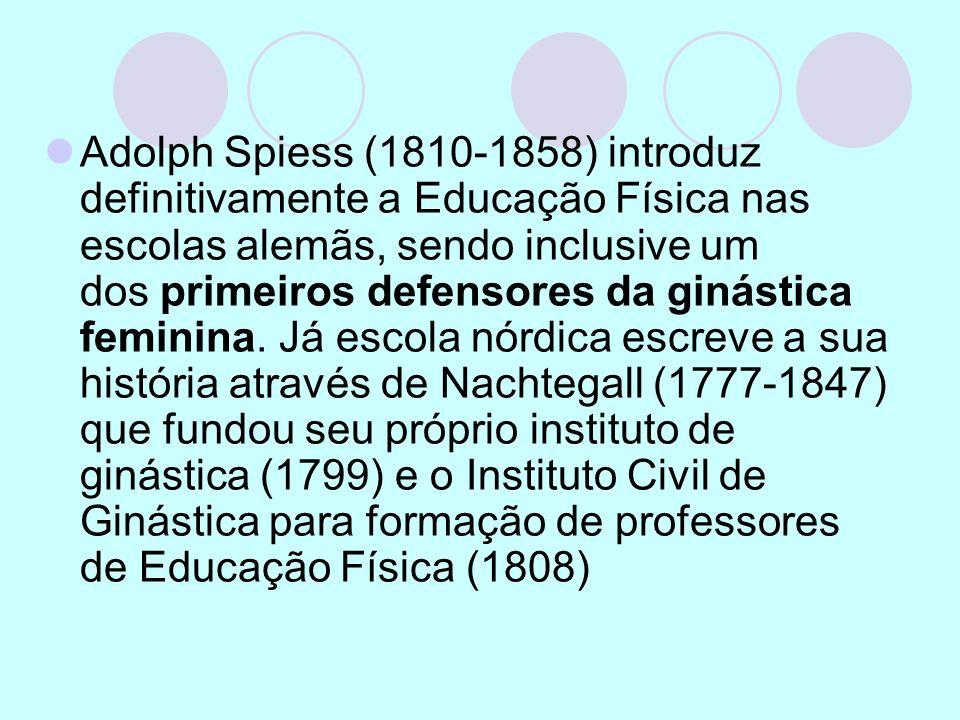 Adolph Spiess (1810-1858) introduz definitivamente a Educação Física nas escolas alemãs, sendo inclusive um dos primeiros defensores da ginástica feminina.