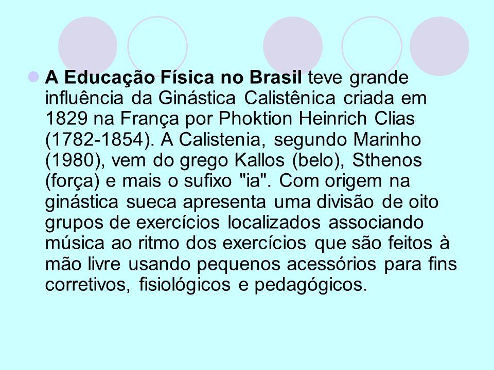 A Educação Física no Brasil teve grande influência da Ginástica Calistênica criada em 1829 na França por Phoktion Heinrich Clias (1782-1854).