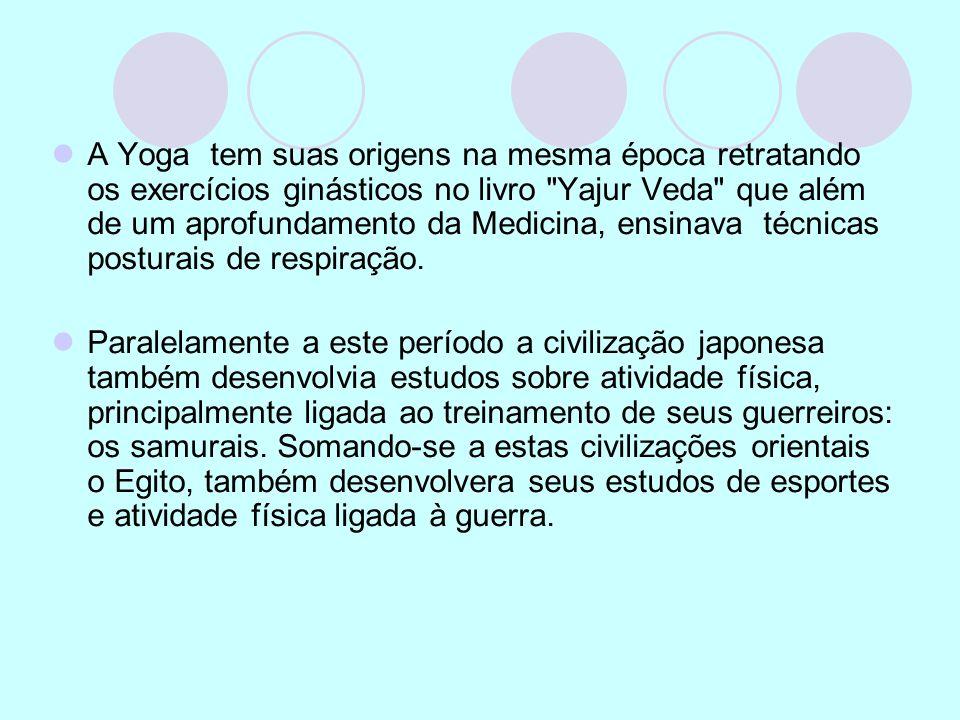 A Yoga tem suas origens na mesma época retratando os exercícios ginásticos no livro Yajur Veda que além de um aprofundamento da Medicina, ensinava técnicas posturais de respiração.
