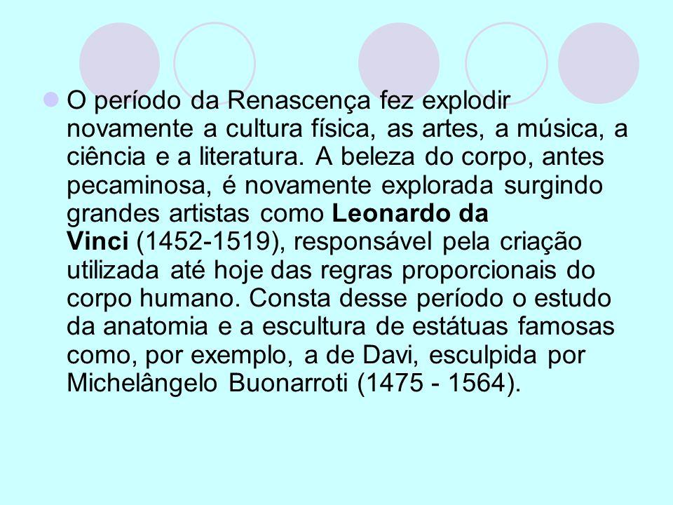O período da Renascença fez explodir novamente a cultura física, as artes, a música, a ciência e a literatura.