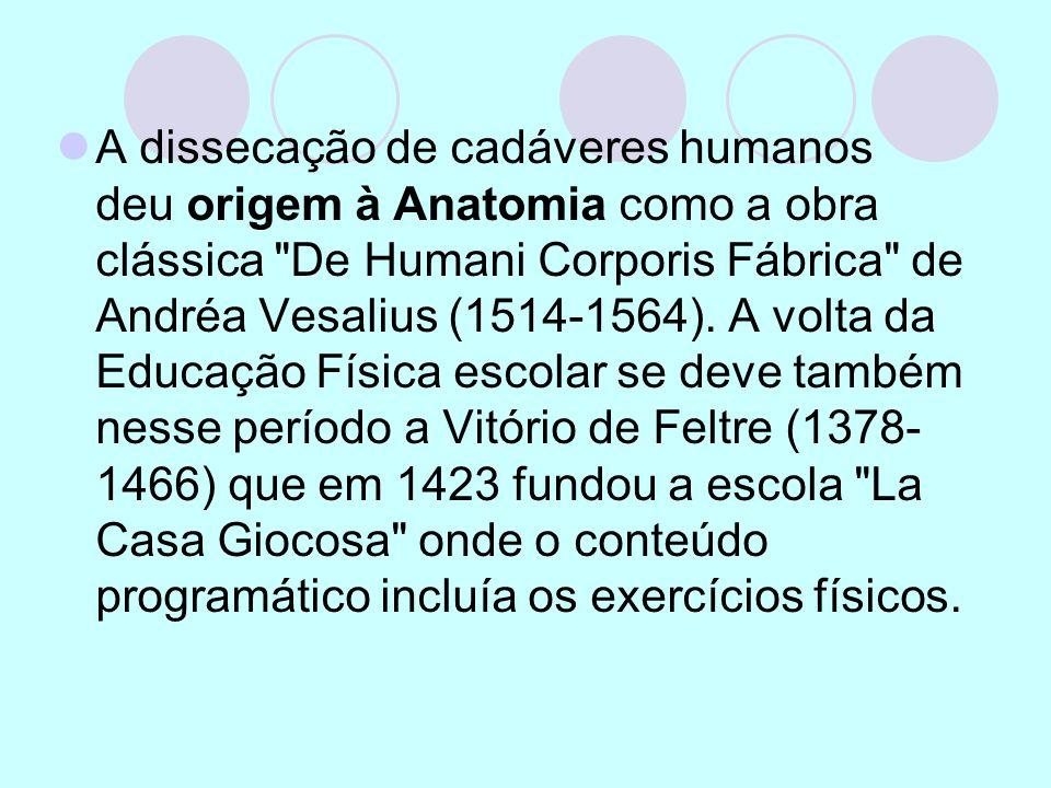 A dissecação de cadáveres humanos deu origem à Anatomia como a obra clássica De Humani Corporis Fábrica de Andréa Vesalius (1514-1564).