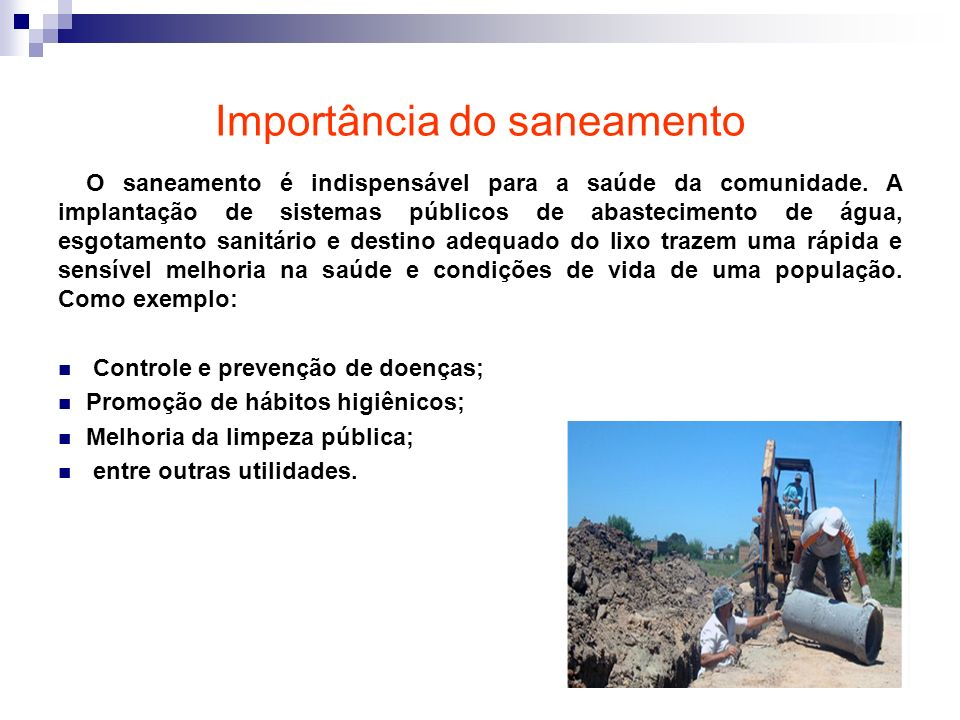 Importância do saneamento