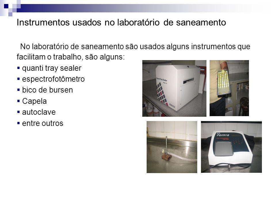 Instrumentos usados no laboratório de saneamento