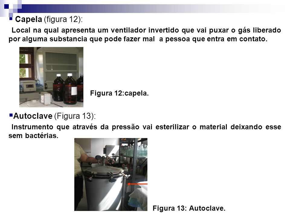 Capela (figura 12): Autoclave (Figura 13):