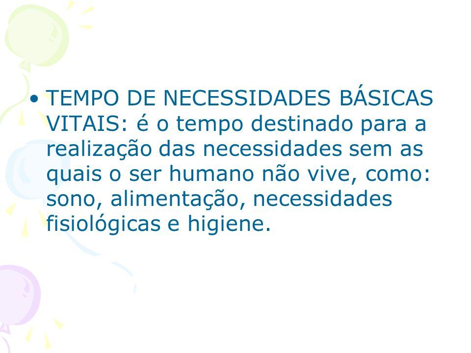 TEMPO DE NECESSIDADES BÁSICAS VITAIS: é o tempo destinado para a realização das necessidades sem as quais o ser humano não vive, como: sono, alimentação, necessidades fisiológicas e higiene.