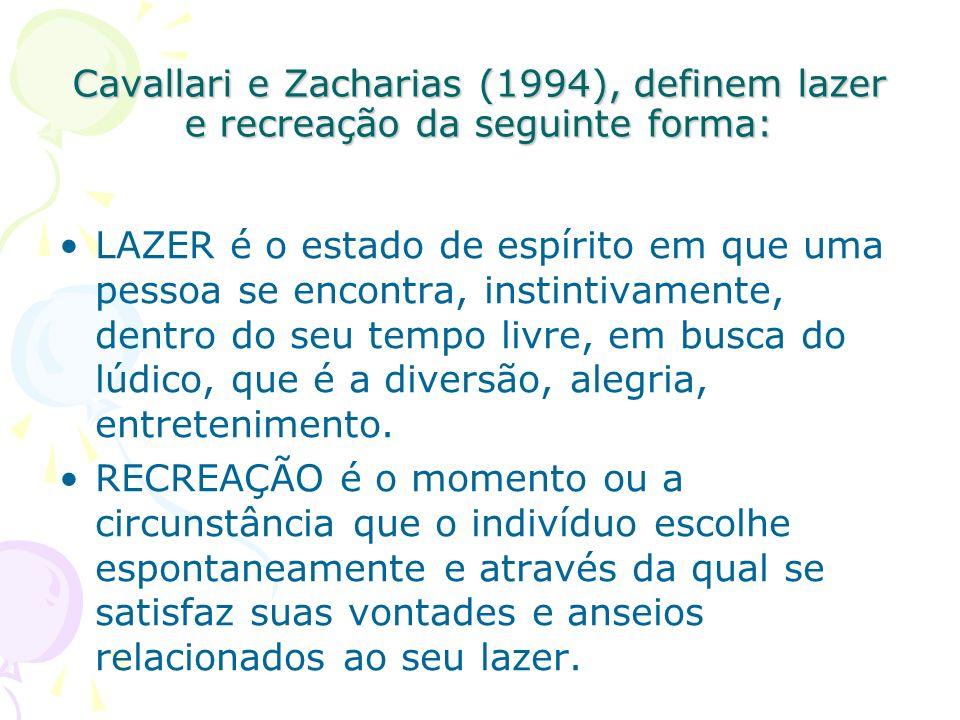Cavallari e Zacharias (1994), definem lazer e recreação da seguinte forma: