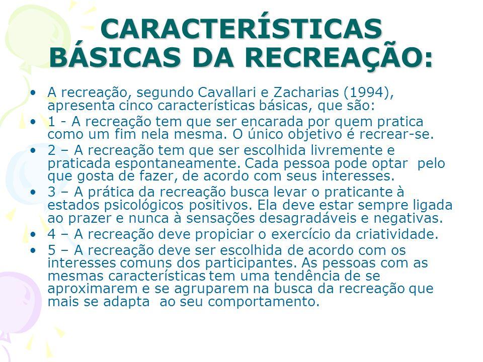 CARACTERÍSTICAS BÁSICAS DA RECREAÇÃO: