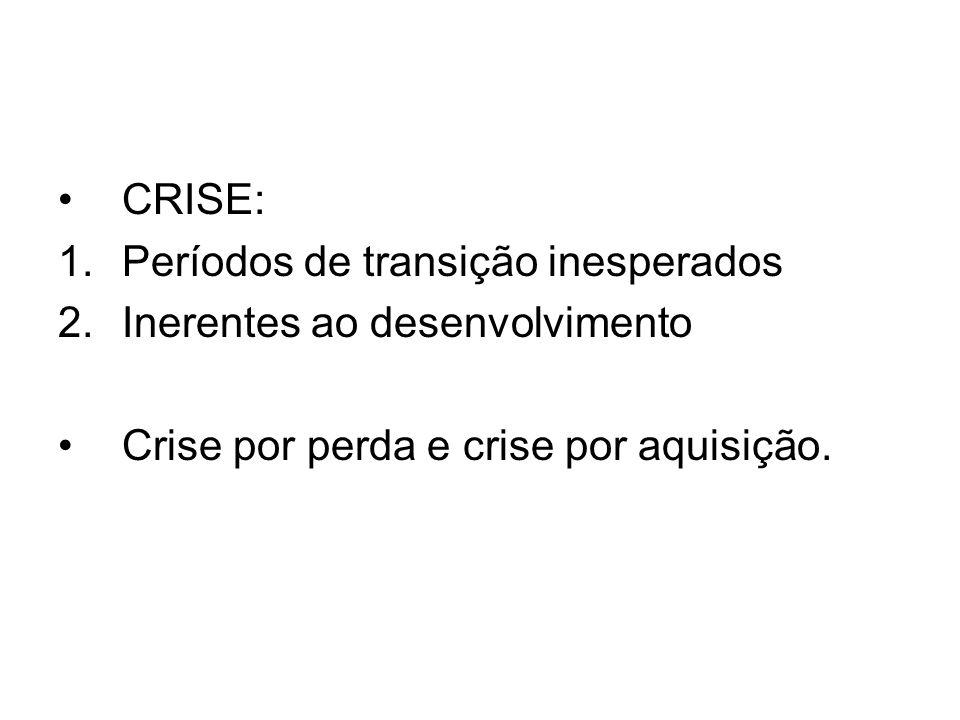 CRISE: Períodos de transição inesperados. Inerentes ao desenvolvimento.