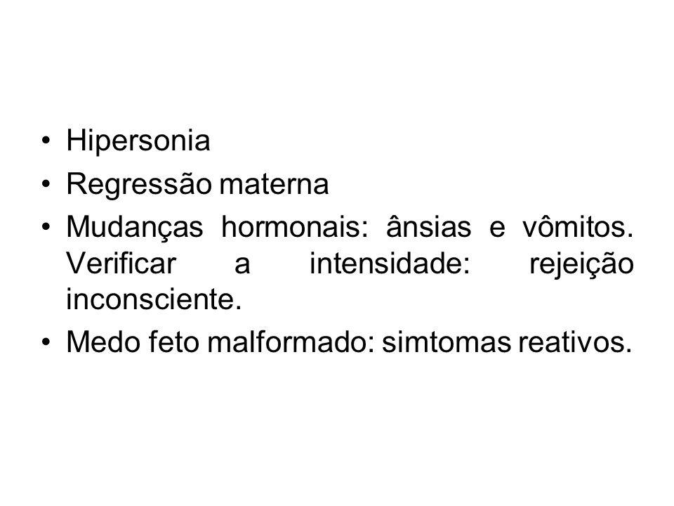 Hipersonia Regressão materna. Mudanças hormonais: ânsias e vômitos. Verificar a intensidade: rejeição inconsciente.