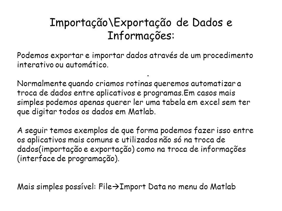 Importação\Exportação de Dados e Informações: