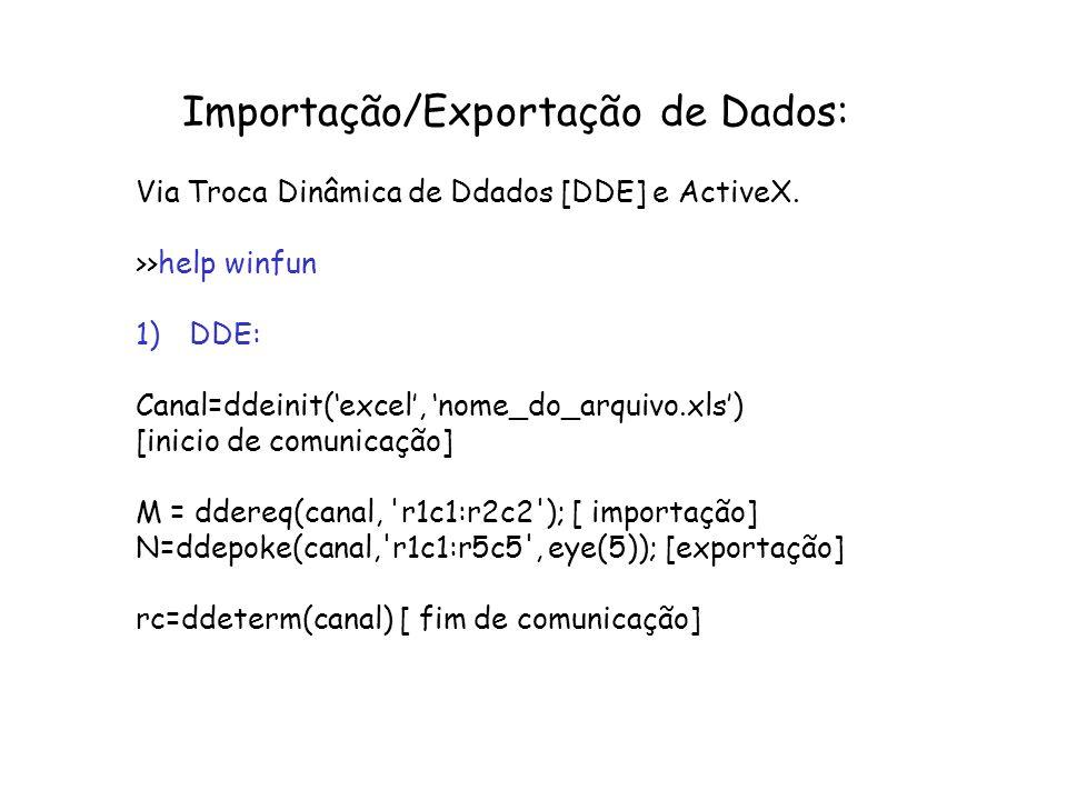 Importação/Exportação de Dados: