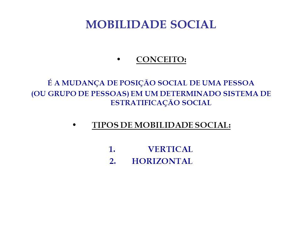 MOBILIDADE SOCIAL CONCEITO: TIPOS DE MOBILIDADE SOCIAL: VERTICAL