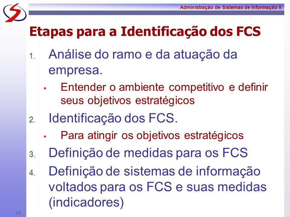 Etapas para a Identificação dos FCS