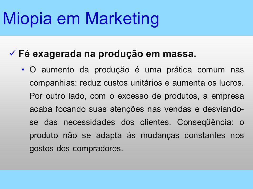 Miopia em Marketing Fé exagerada na produção em massa.