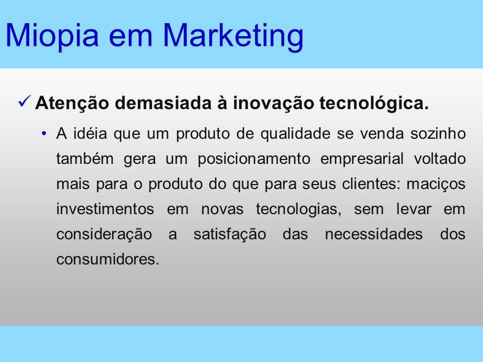Miopia em Marketing Atenção demasiada à inovação tecnológica.