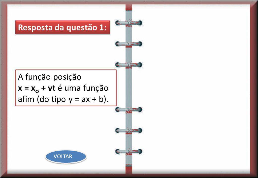 x = xo + vt é uma função afim (do tipo y = ax + b).