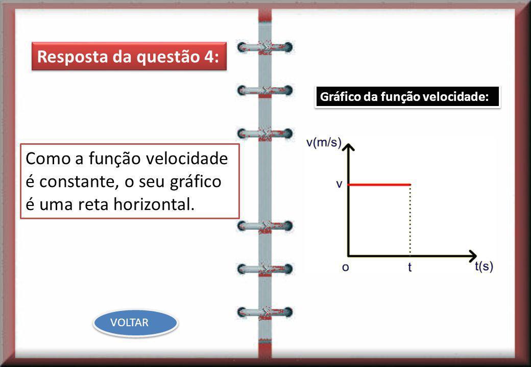 Resposta da questão 4:Gráfico da função velocidade: Como a função velocidade é constante, o seu gráfico é uma reta horizontal.