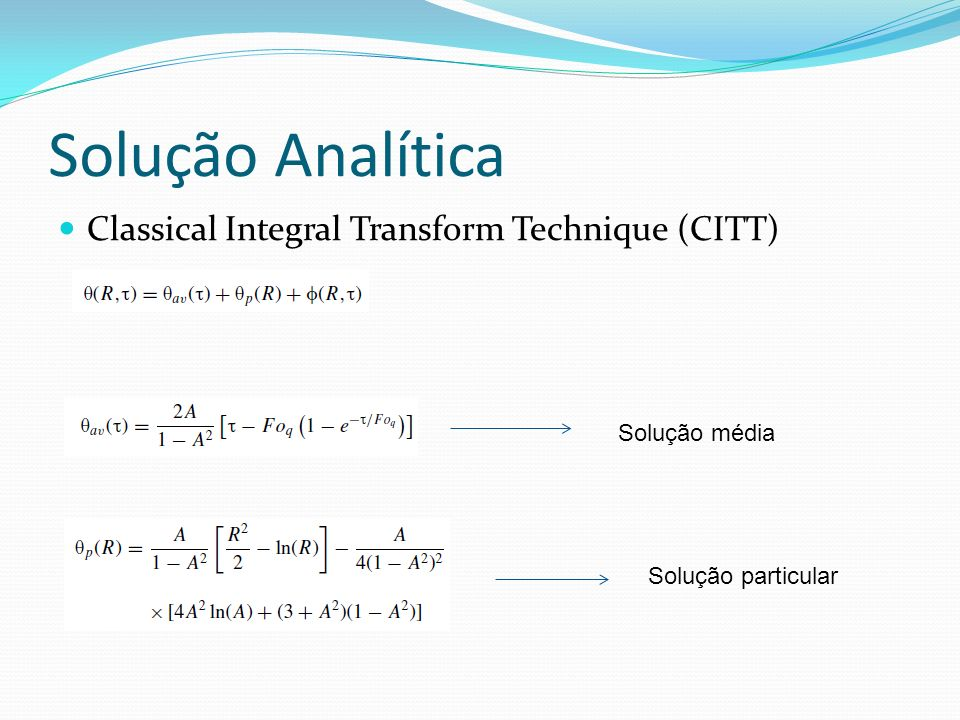 Solução Analítica Classical Integral Transform Technique (CITT)